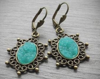 FREE SHIPPING Aqua Blue Earrings Faux Druzy Earrings Romantic Victorian Drop Bronze Earrings Resin Druzy Jewelry