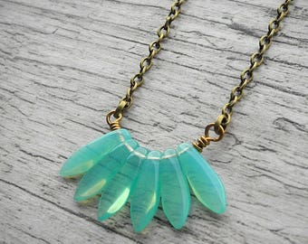Gift For Her Opal Mint Necklace Seafoam Pendant Shabby Chic Green Necklace Czech Glass Jewelry