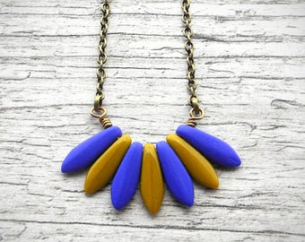 Gift For Her Color Block Necklace Mustard Yellow and Cobalt Blue Fan Pendant Two Tone Necklace Czech Glass Jewelry