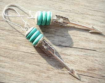 FREE SHIPPING Arrow Earrings Turquoise Howlite Earrings Aqua Blue Earrings Southwestern Festival Jewelry Silver Boho Dangles