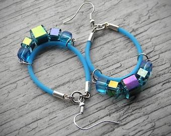 Aqua Blue Earrings Modern Jewelry Rainbow Hoop Earrings Multicolor Earrings Rubber PVC Jewelry Boho Jewelry