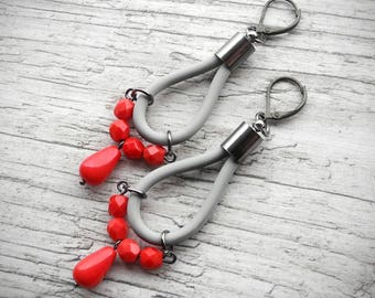 Color Block Earrings Red and Gray Grey Earrings Modern Boho Jewelry Drop Hoops PVC Rubber Urban Chic