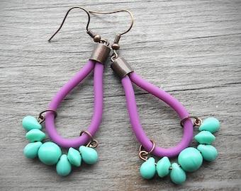 Tassel Earrings Purple and Mint Color Block Earrings Statement Contemporary Jewelry Rubber PVC Jewelry