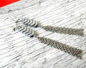 Geometric Earrings Silver Chevron Earrings Arrow Earrings Chain Tassel Earrings Shoulder Dusters
