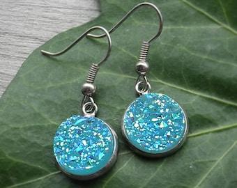 FREE SHIPPING Aqua Blue Earrings Faux Druzy Earrings Glitter Earrings Geode Earrings Sparkly Drop