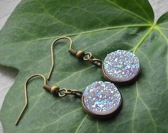 FREE SHIPPING Lilac Earrings Druzy Earrings Light Purple Earrings Galaxy Earrings Glitter Drop Earrings Geode Earrings Antique Bronze