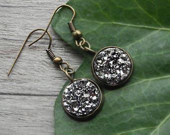 FREE SHIPPING Gunmetal Earrings Druzy Earrings Galaxy Earrings Hematite Glitter Drop Earrings Geode Earrings Antique Bronze