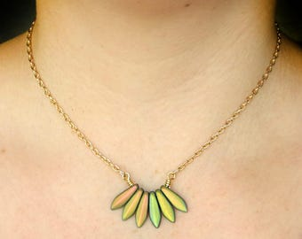 Gift For Her Duochrome Matte Gold Necklace Fan Pendant Metallic Green Necklace Czech Glass Jewelry