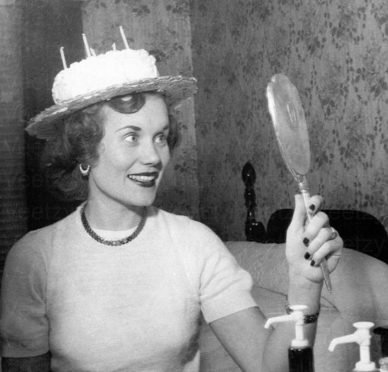 Digitale Jaren 1950 Vrouw Gelukkige Verjaardag Hoed Partij Etsy