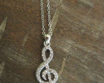 Silver Music Note Necklace - Rhinestone Music Note Necklace