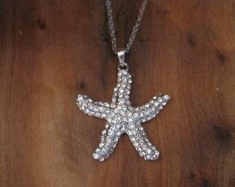 Silver Rhinestone Starfish Necklace - Silver Starfish Necklace - Starfish Necklace - Beach Jewelry