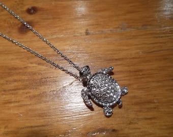 Silver Sea Turtle Necklace - Turtle Necklace - Rhinestone Turtle Necklace