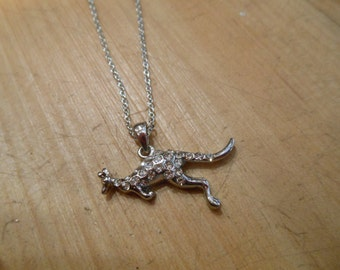 Kangaroo Necklace - Silver Rhinestone Kangaroo Necklace