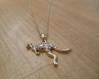 Kangaroo Necklace - Gold Rhinestone Kangaroo Necklace