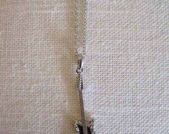 Silver Guitar Necklace - Silver Rhinestone Guitar Necklace - Guitar Jewelry - Black Guitar Necklace - Music Necklace - Rock Star Necklace