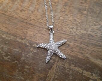 Rhinestone Starfish Necklace - Silver Starfish Necklace - Beach Wedding Necklace - Beach Wedding - Wedding Jewelry