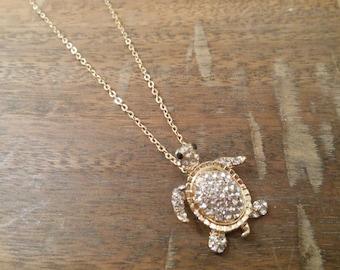 Gold Sea Turtle Necklace - Turtle Necklace - Rhinestone Turtle Necklace