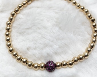 14k gold beaded bracelet and pave ruby bead; stack bracelet; july birthstone