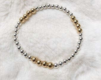 Two tone 14k gold Filled and sterling silver beaded bracelet