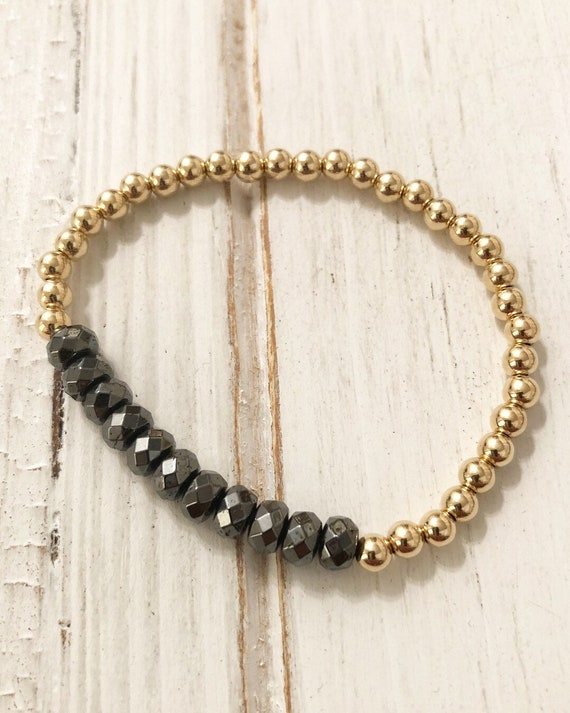 Gold hematite 4mm bead bracelet