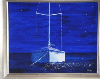 Sailboat in the Night  - Framed Original 16 X 20 Painting