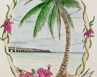 Seven Mile Bridge in Florida Keys - 8 X 10 - Framed Original Drawing