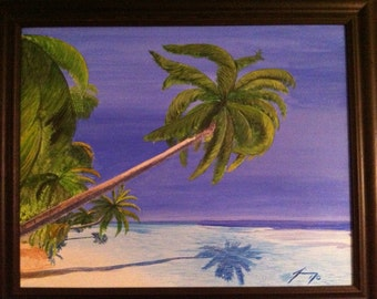 Palm Trees Over the Water in St. Thomas Original 16 X 20 Framed Painting