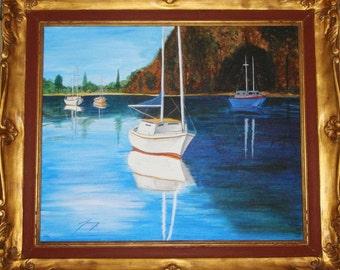 Ships at Safe Harbor Original Painting in Antique Frame