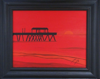 The Pier on Tybee Island at Red Dawn  - Original 11 X 14 Framed Painting