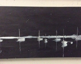 Sailboats in the Night Harbor 12 X 24 original painting on gallery wrap canvas