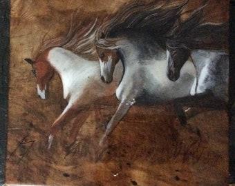 Three Wild Horses on Maple - Original Painted Wood Burning