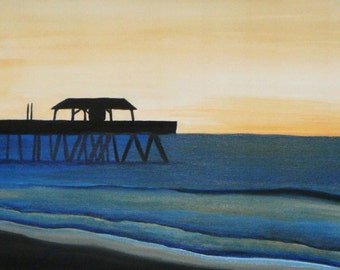 Tybee Island Dawn  - Original Framed 11 X 14 Painting