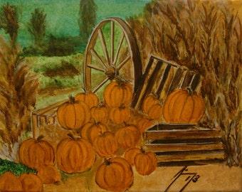 Fall Pumpkin Harvest - Original Framed 8 x 10 Painting