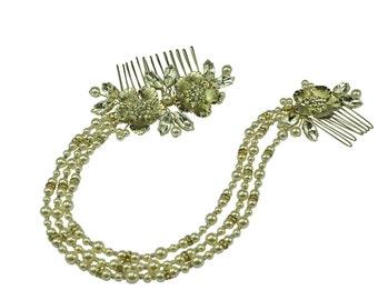 Beautiful pearl and diamante hair drape - bride wedding vintage vine forehead