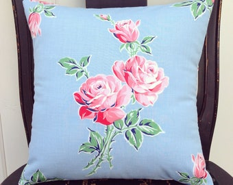 vintage pink roses pillow cover 12""