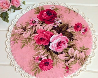 pretty vintage pink roses barkcloth doily