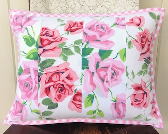 """vintage pink roses tablecloth patchwork pillow cover 12x16"""""""