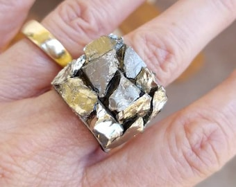 Natural Raw chunky pyrite Crystal cluster ring . Sparkly A+ pyrite ring.