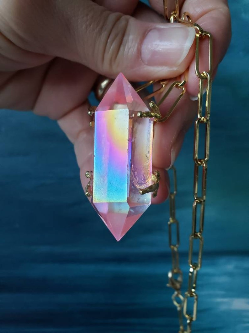 Aura Party Jewelry,Rose Aura Statement Pink Aura Crystal Point Pink Aura Necklace Large Rose Aura Point Neckkace