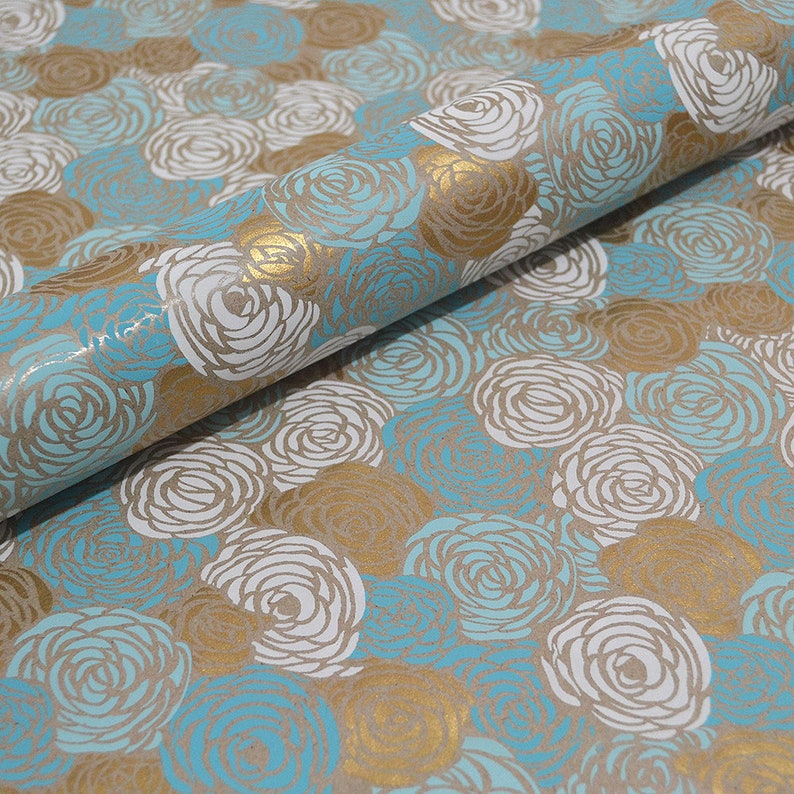 Blue Roses Gift Wrap Recycled Kraft Paper
