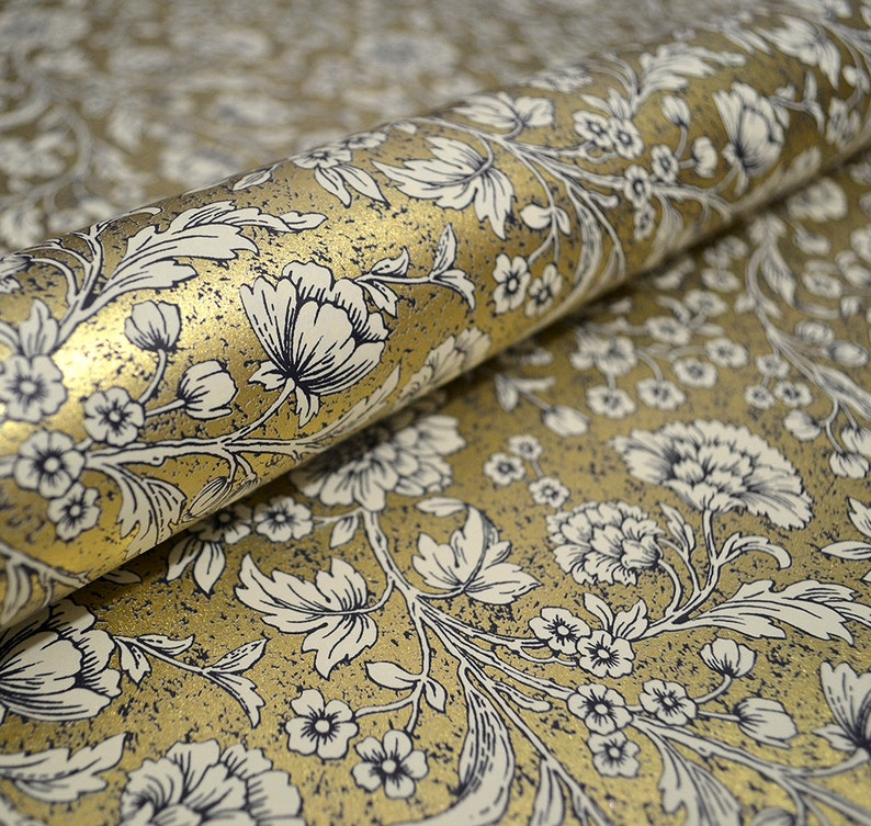 Italian Decorative Wrapping Paper  Gold Floral image 0
