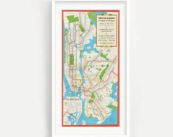 New York Subway Map Art.New York Subway Map Etsy