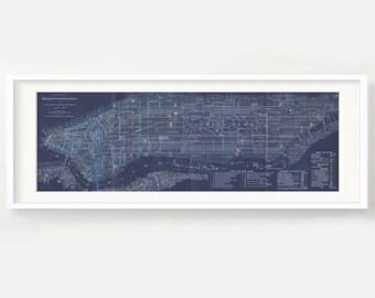 Manhattan blueprint etsy vintage new york print blueprint manhattan bronx brooklyn dark blue panorama digital download version malvernweather Images