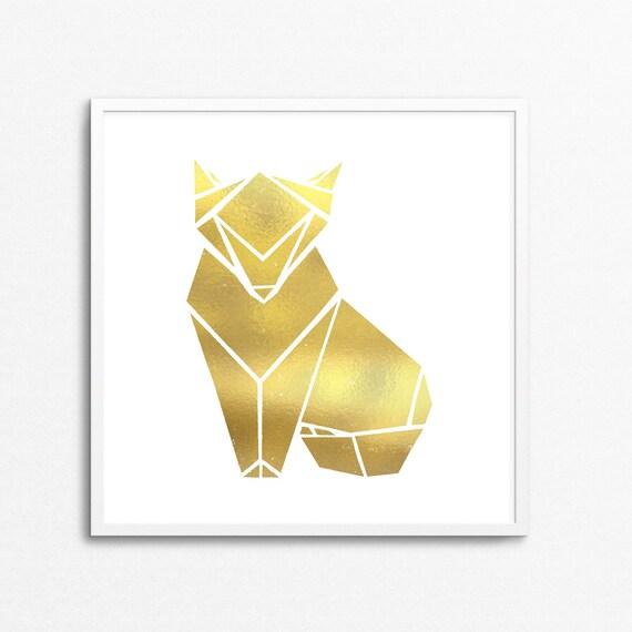 Gold Foil Fox Origami Print Japanese Art Forest Animal Etsy