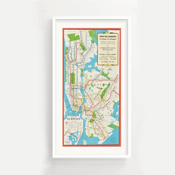 New York Subway Map To Print.Vintage New York Subway Map Print Pano Nyc Manahattan Bronx Brooklyn Wall Art Digital Download Version