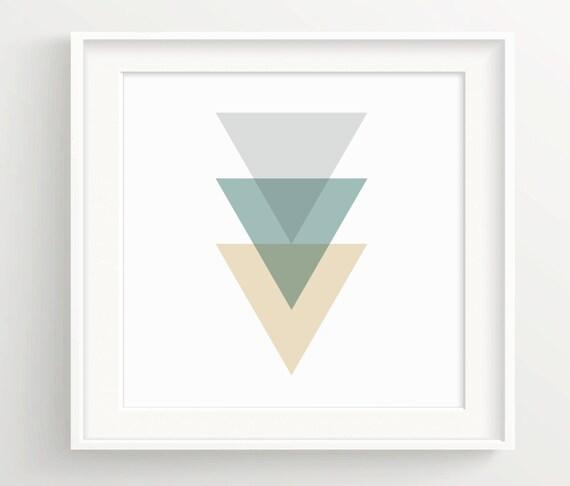 Triángulos Print Tan Verde Y Grisforrest Etsy