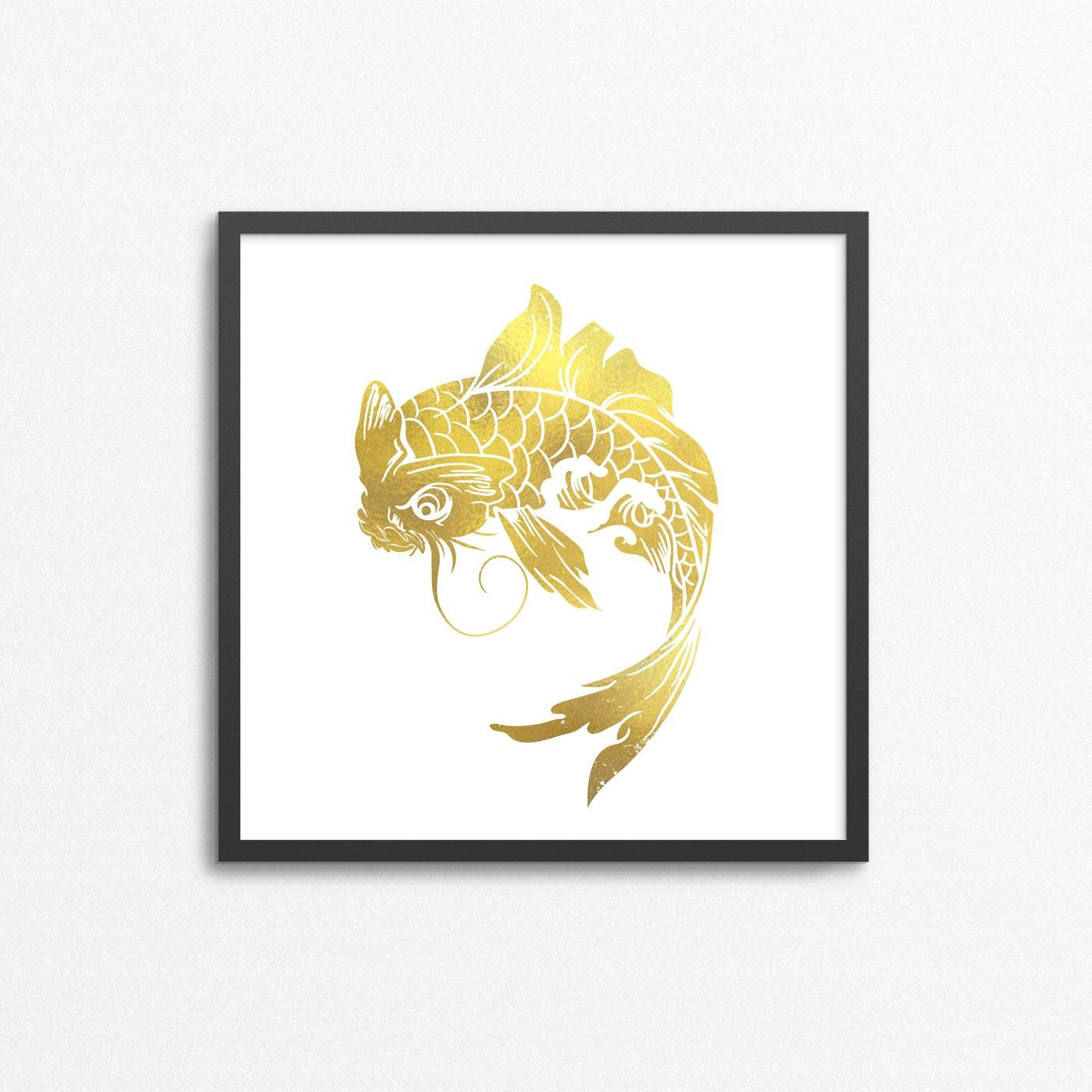 Gold Foil Koi Fish Print Japanese Art Tattoo Stamp No | Etsy