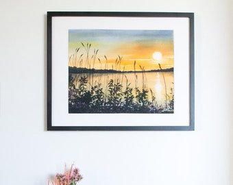Limited Edition Digital Fine Art Print, 11 X 14, Emma Lake Sunset, Signed and Numbered by Jen Unger. Unframed.