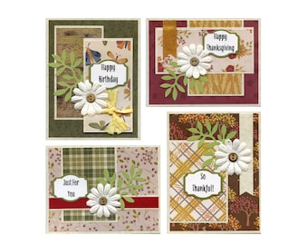 September 2021 Card Kit, Fall cards, Thanksgiving cards, Fall crafts, Birthday card kit, Thank you card kit,  set of 4 cards to make.