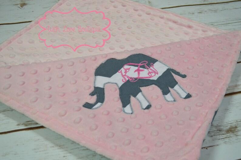Elephant Personalized Minky Dot Baby Blanket